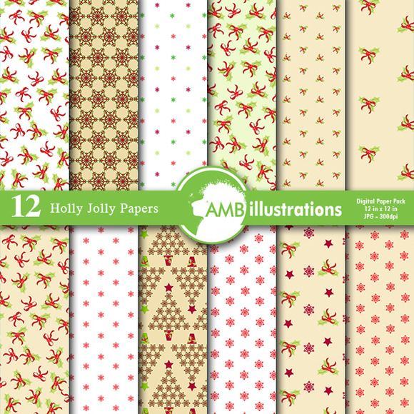 Holly Jolly Digital Papers 585