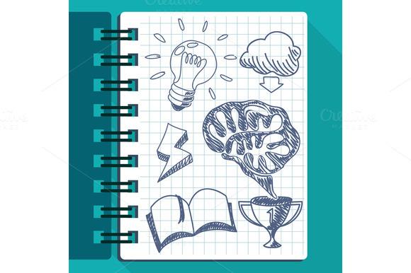 Sheet Of Paper With Lightbulb Brain