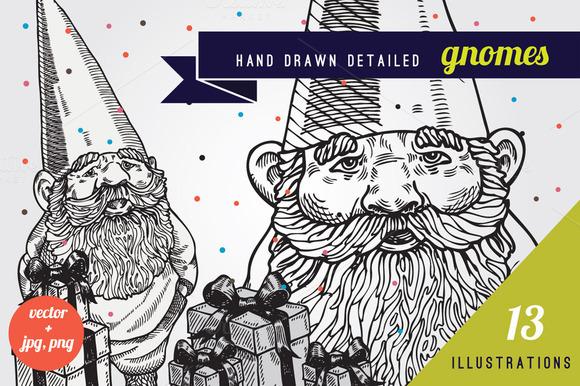 Hand Drawn Gnomes Illustrations