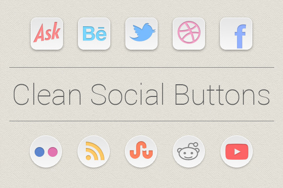 White And Clean Social Buttons