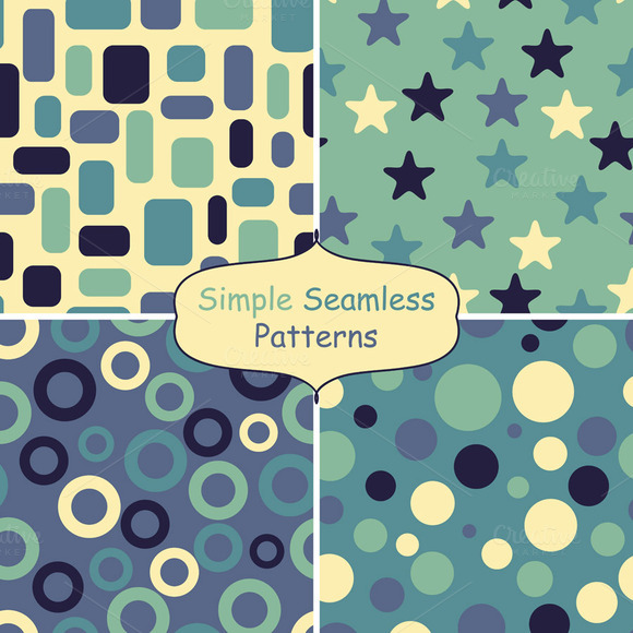 Four Abstract Vector Seamless Patter