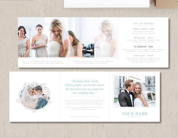 Wedding photographers pricing brochure design template for Wedding photography brochure template
