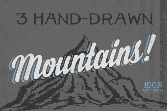 3 Hand-Drawn Mountains
