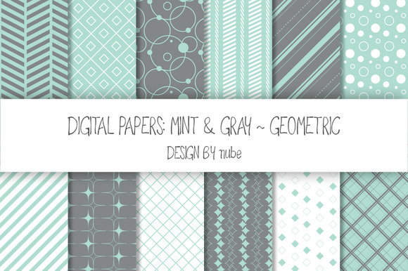 Geometric Seamless Patterns Mint