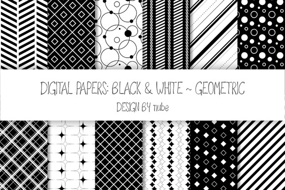 Geometric Seamless Patterns Black