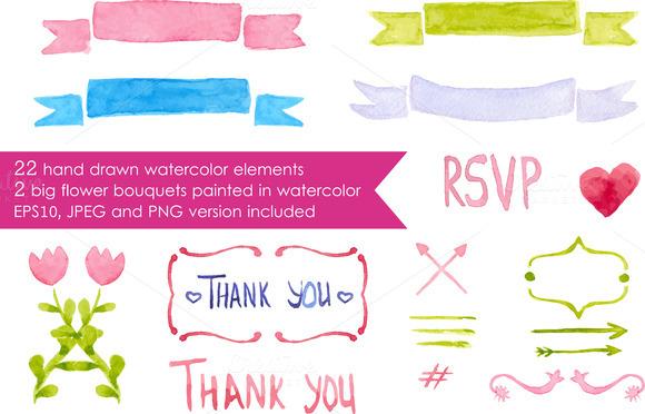 Big Watercolor Romantic Elements Set