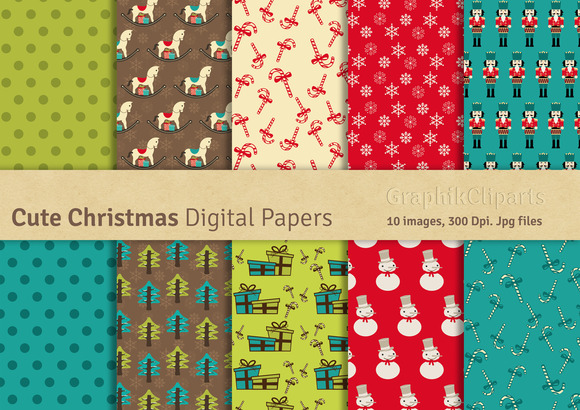 Cute Christmas Digital Papers