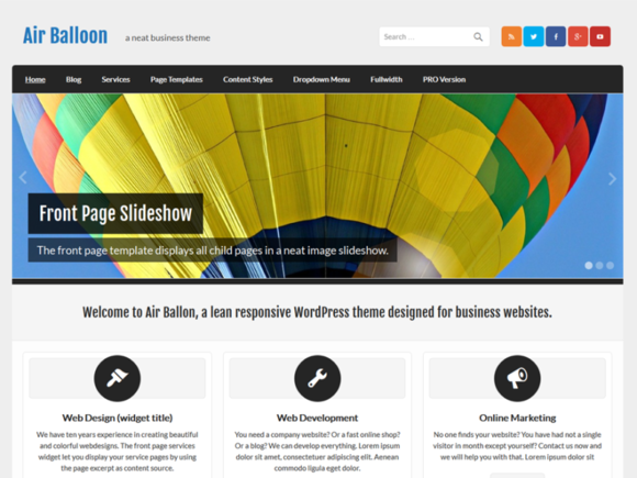 Air Balloon Business WP Theme