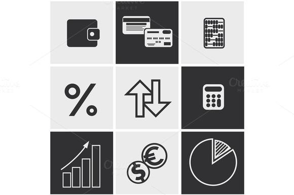 Money Finance Banking Icons Set