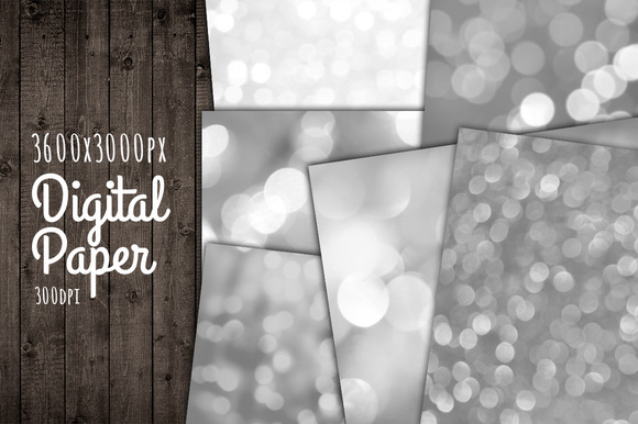 Silver Bokeh Background Paper Set