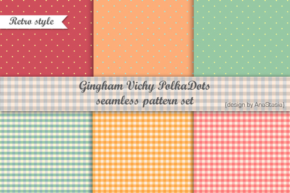 Gingham Vichy PolkaDots Pattern Set