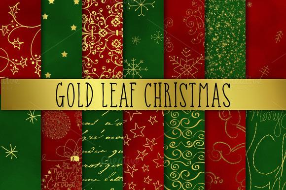 Gold Leaf Christmas Digital Paper