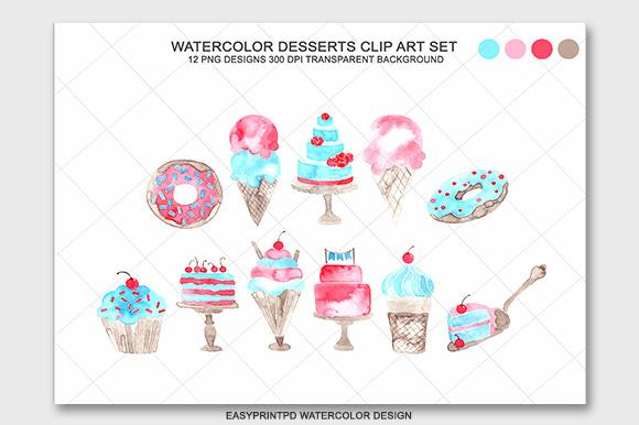 Watercolor Desserts Clip Art