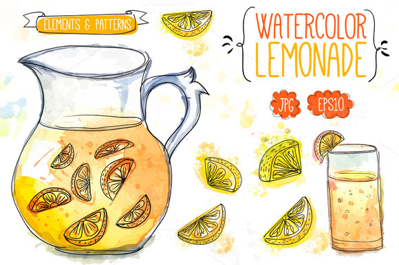 Watercolor Lemonade And Lemons