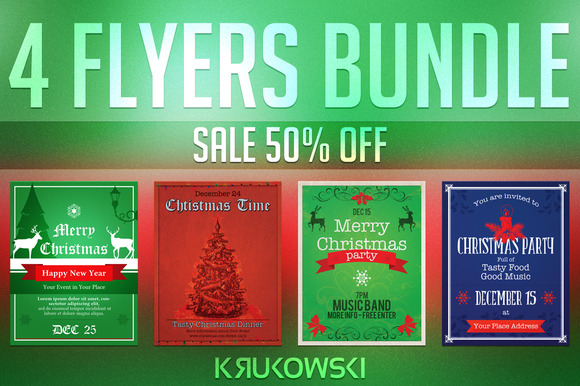 Vintage Christmas Flyers Bundle