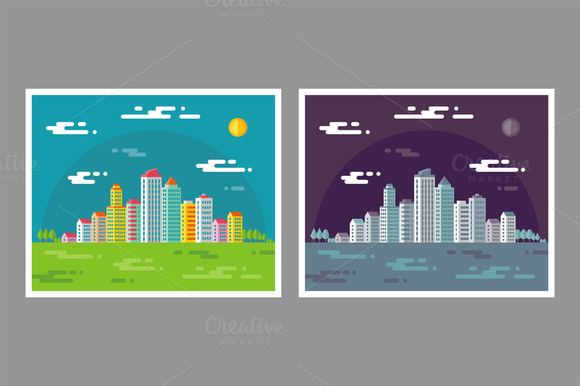 Cityscape Buildings Illustrations