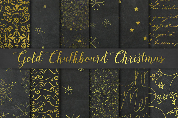Gold Chalkboard Christmas