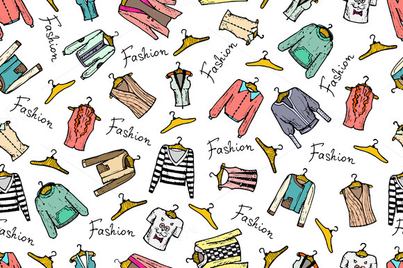 Pattern With Hand Drawn Clothes