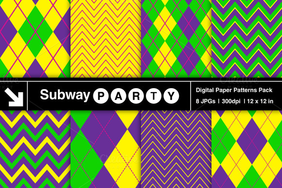 Mardi Gras Argyle Chevron Patterns