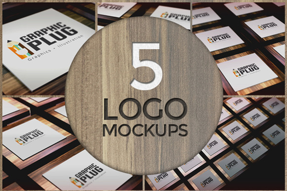 5 Logo Mockups On Wooden Tables