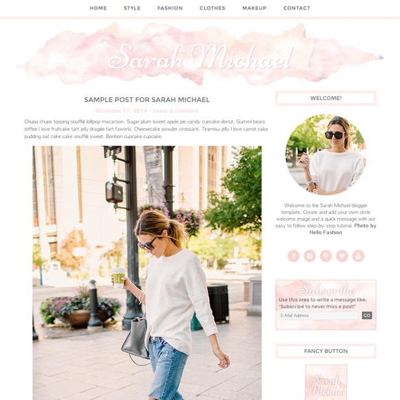 WordPress Theme Sarah Michael Pink