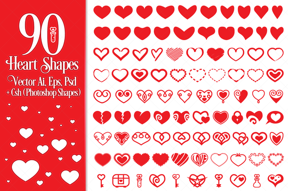 90 Vector Heart Shapes