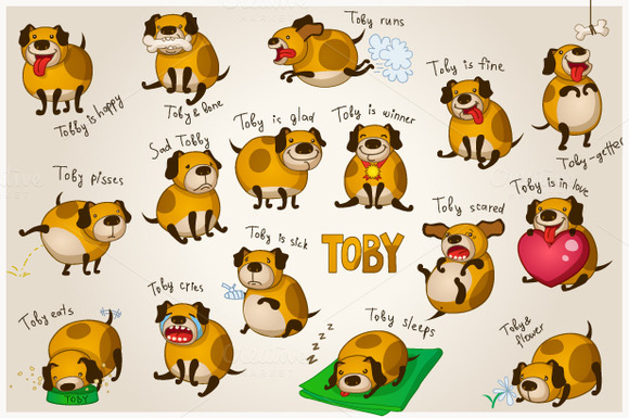 Cute Cartoon Dog Toby