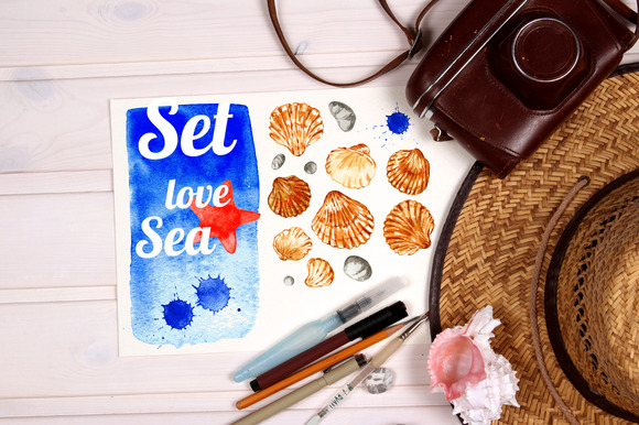 Watercolor Set Of Seashells