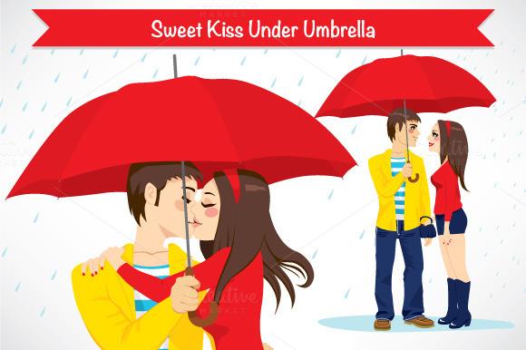 Sweet Kiss Under Umbrella