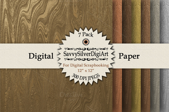 Faux Metallic Wood Grain Papers