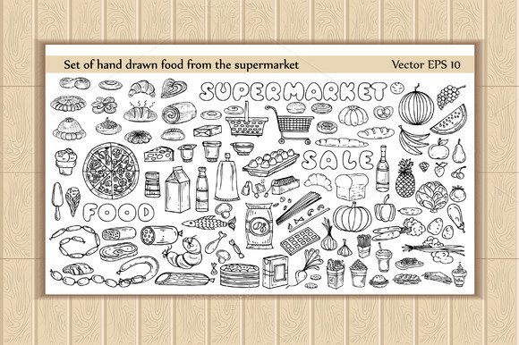 Set Of Hand Drawn Supermarket Food
