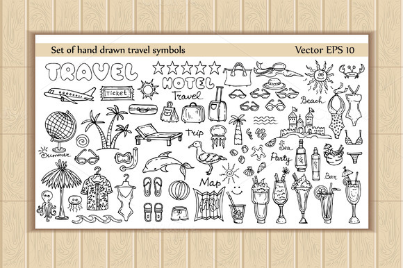 Set Of Hand Drawn Travel Symbols