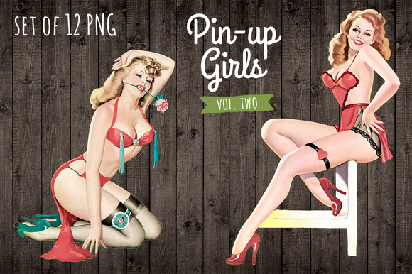 12 Vintage Pin Up Girl Illustrations