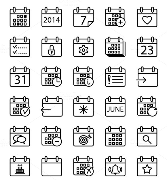 Calendar Stroke Icons Set