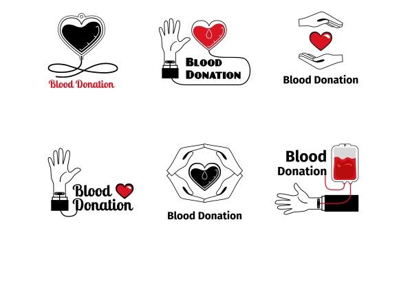 Blood Donation Logo Or Emblem Set