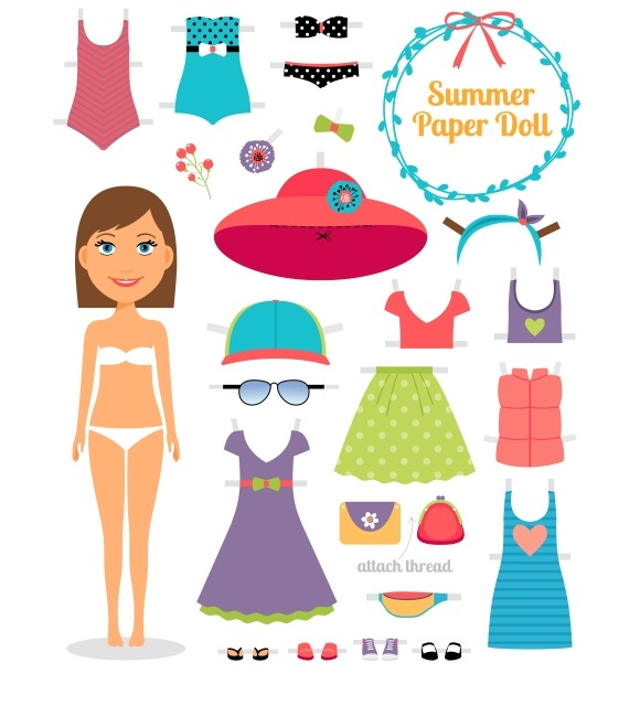 Summer Paper Doll Girl With Dress
