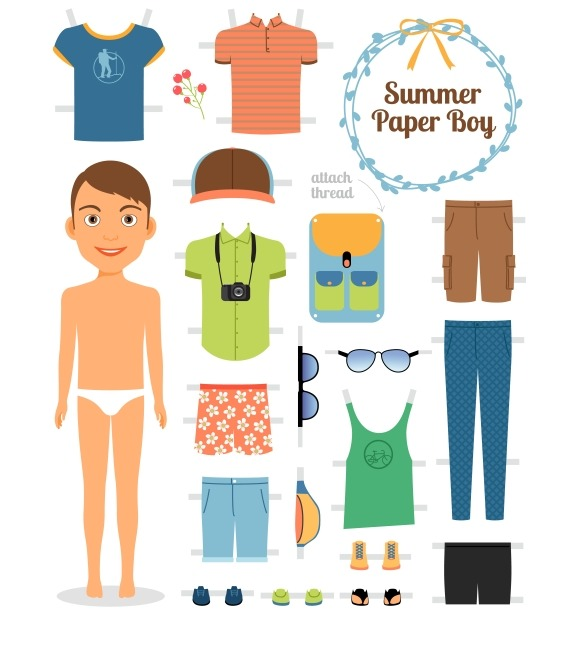 Paper Doll Boy In Summer Clothes
