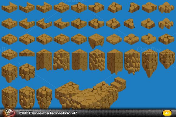 Cliff Elements Isometric Tiles V2