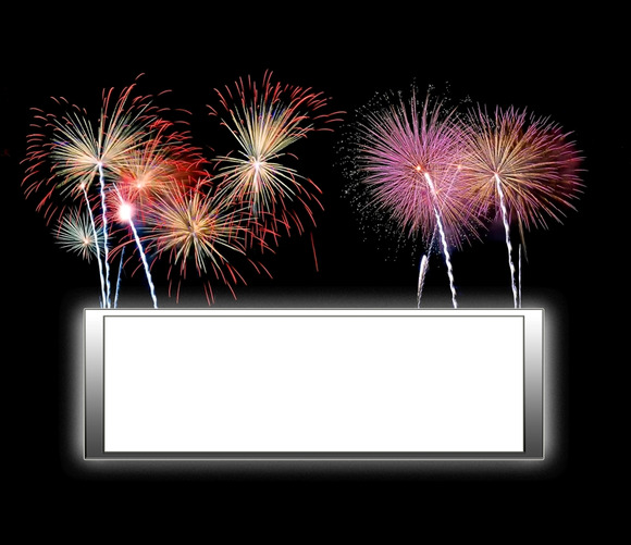 Sign With Blank And Fireworks
