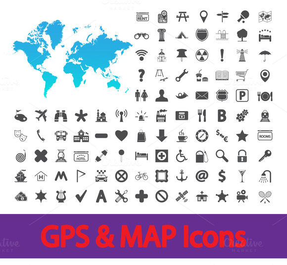 Navigation Map Icons Set