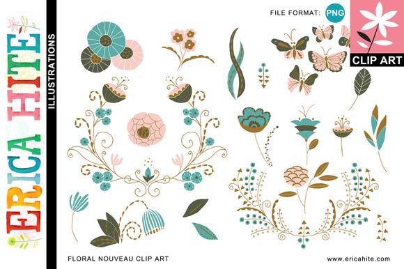 Floral Nouveau Clip Art Bonus