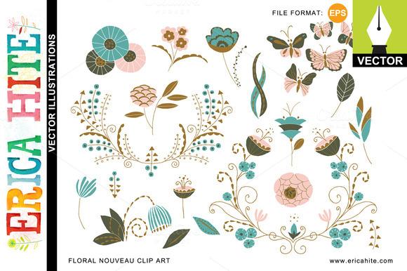 Floral Nouveau Vector Art Bonus