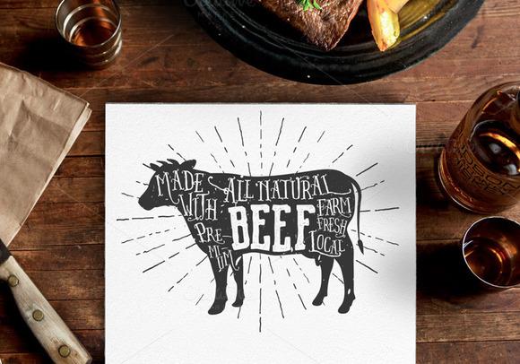 Vintage Premium Beef Label