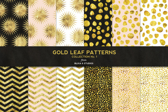 Gold Leaf Digital Patterns No 1