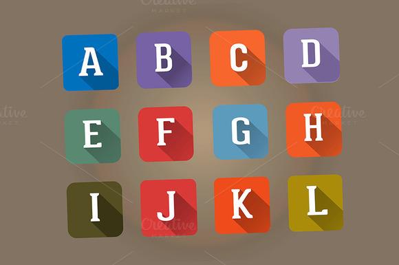 Set Flat Icons Alphabet Letter A-L