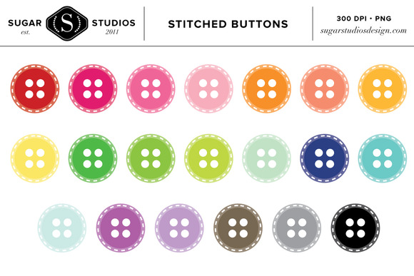 Buttons Stitched Clipart Set