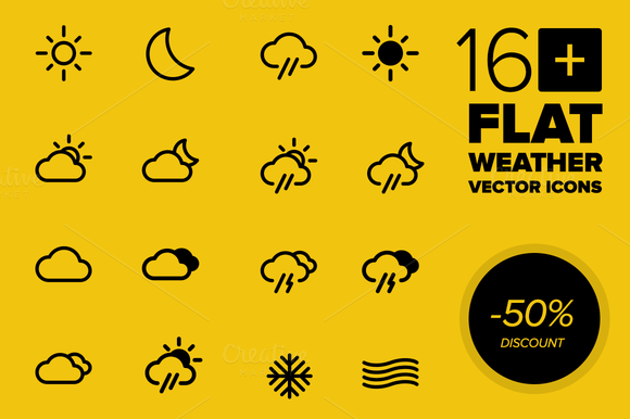 16 Weather Vector Icons