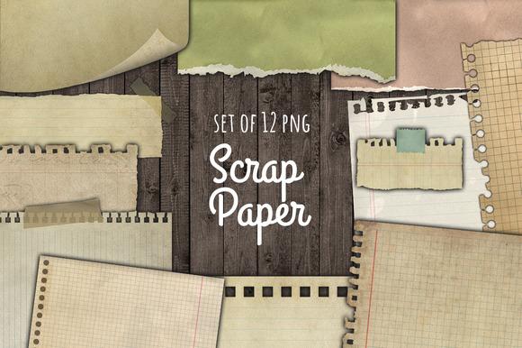Notebook Torn Paper Scraps Set