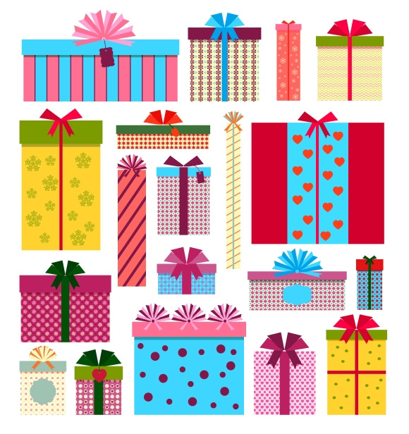 Gift Boxes Icons Stack Patterns