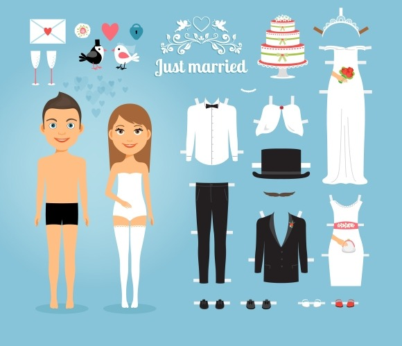 Just Married Paper Dolls
